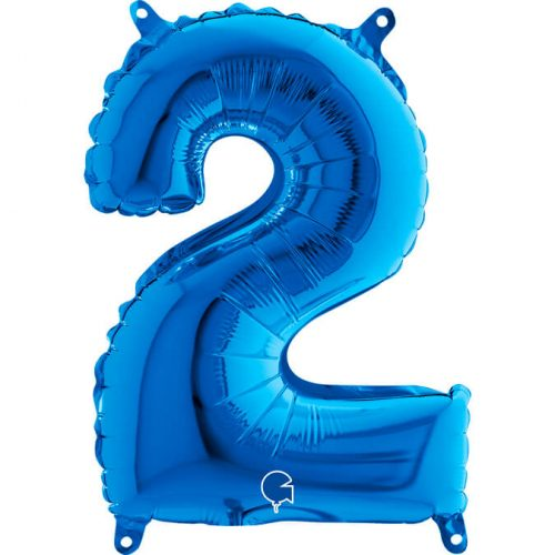 Globo número 2 metálico 36cm azul