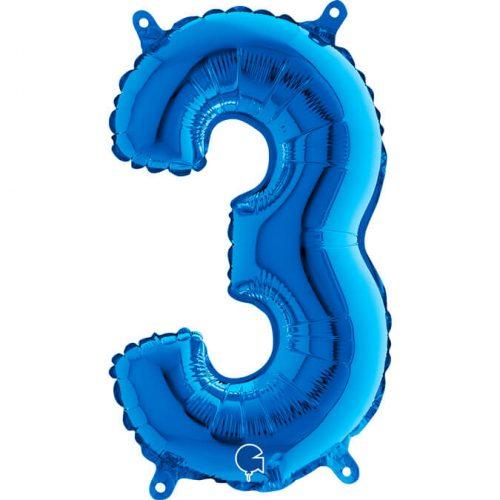 Globo número 3 metálico 36cm azul