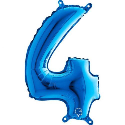 Globo número 4 metálico 36cm azul