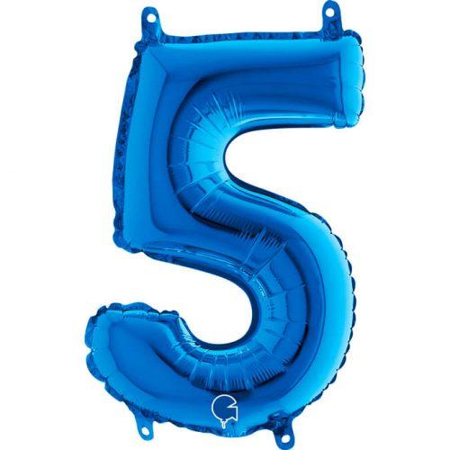 Globo número 5 metálico 36cm azul