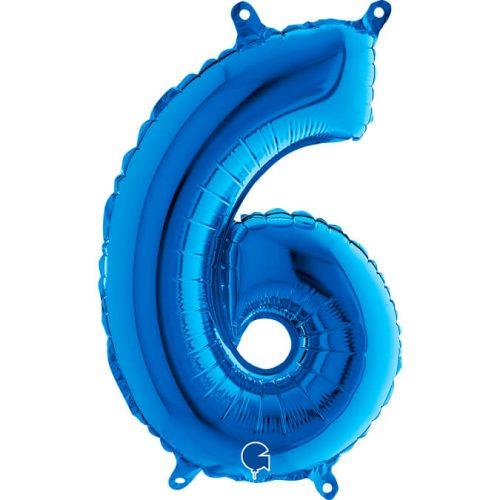 Globo número 6 metálico 36cm azul