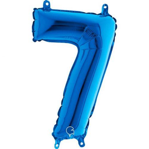 Globo número 7 metálico 36cm azul