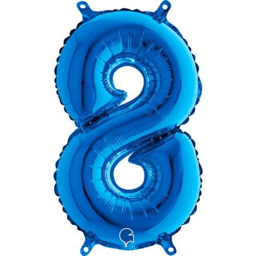 Globo número 8 metálico 36cm azul