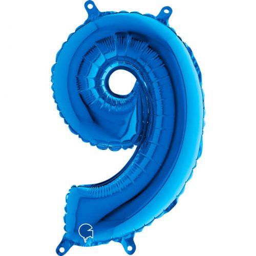 Globo número 9 metálico 36cm azul