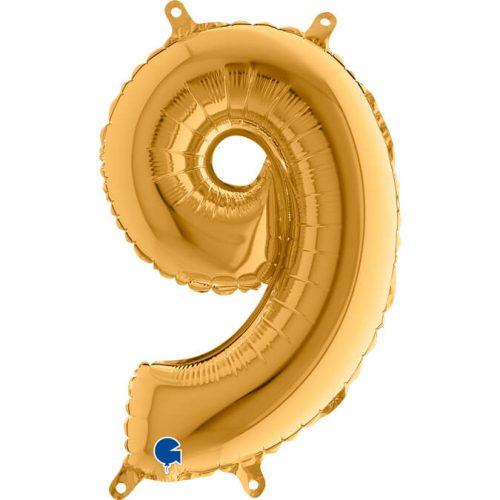 Globo número 9 metálico 36cm dorado