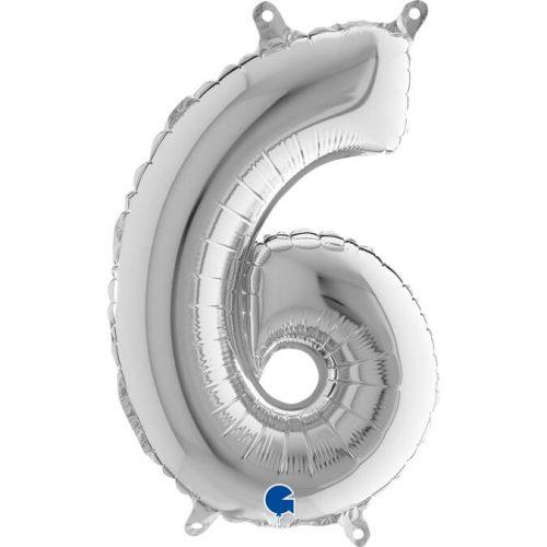 Globo número 6 metálico 36cm plata