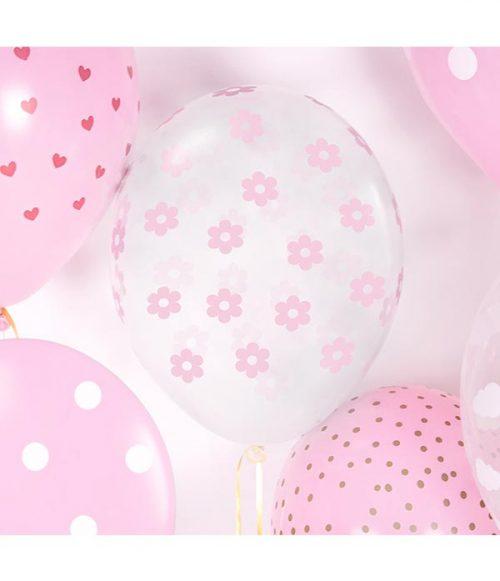 Globo látex transparente flores rosa