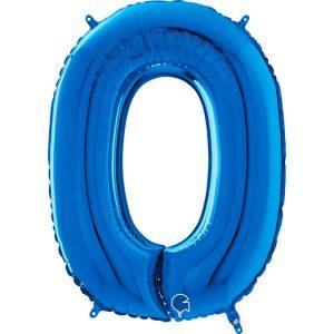 Globo número 0 metálico 66cm azul