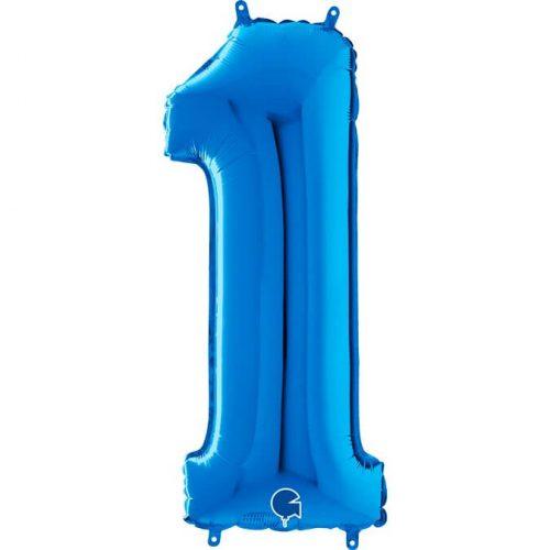 Globo número 1 metálico 66cm azul