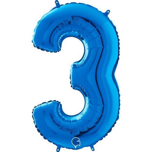 Globo número 3 metálico 66cm azul