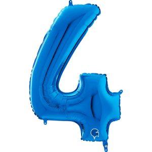 Globo número 4 metálico 66cm azul