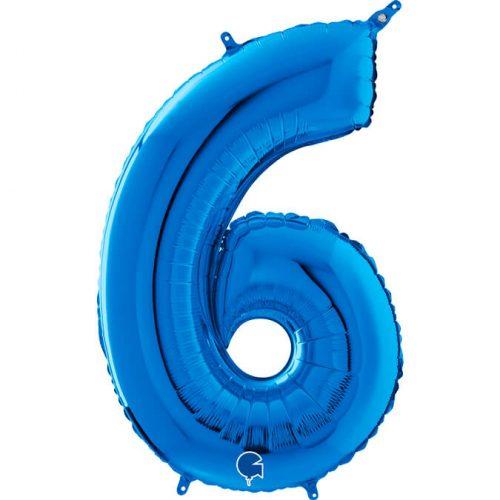 Globo número 6 metálico 66cm azul