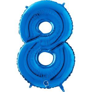 Globo número 8 metálico 66cm azul