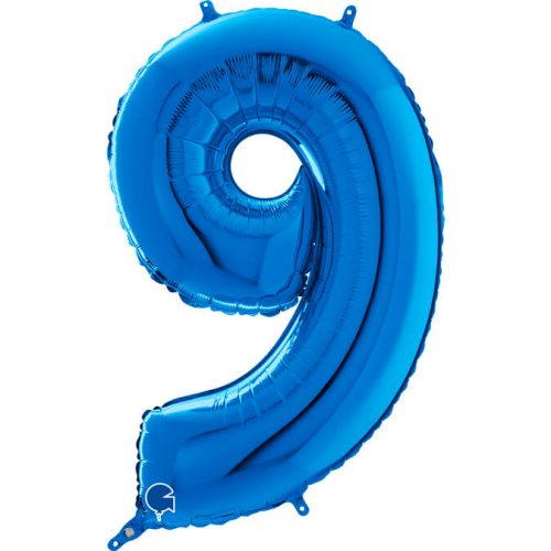 Globo número 9 metálico 66cm azul