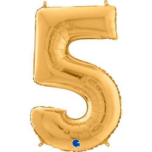 Globo número 5 metálico 66cm dorado
