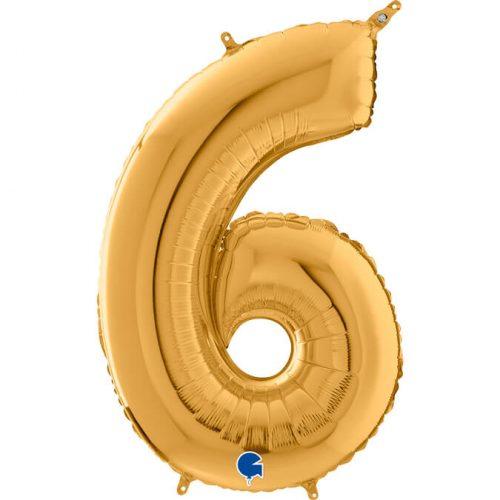 Globo número 6 metálico 66cm dorado