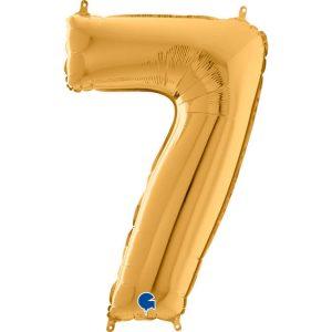 Globo número 7 metálico 66cm dorado