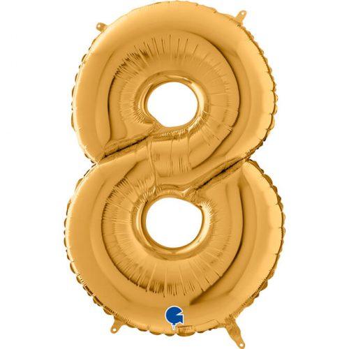 Globo número 8 metálico 66cm dorado