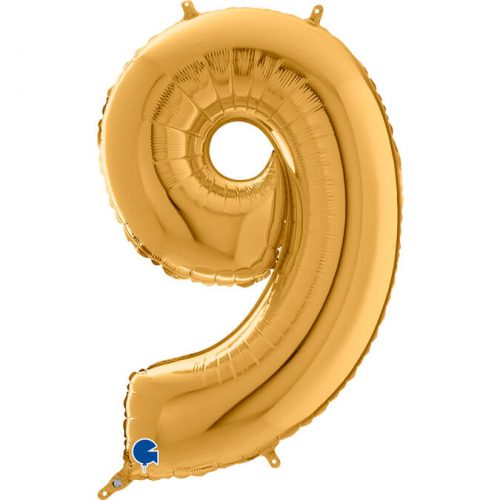 Globo número 9 metálico 66cm dorado