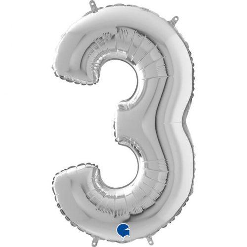 Globo número 3 metálico 66cm plata