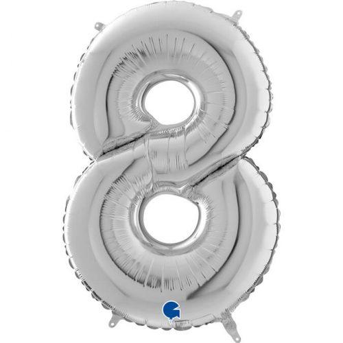Globo número 8 metálico 66cm plata