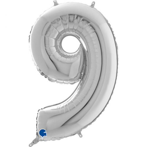Globo número 9 metálico 66cm plata