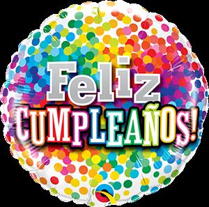Globo metálico Cumpleaños arcoiris de confeti