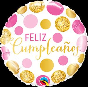 Globo metálico Feliz Cumpleaños puntos