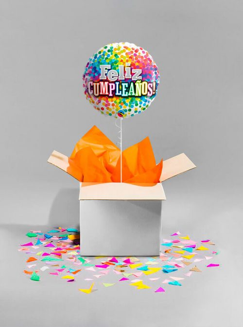 Globo sorpresa Feliz cumpleaños arcoiris de confeti