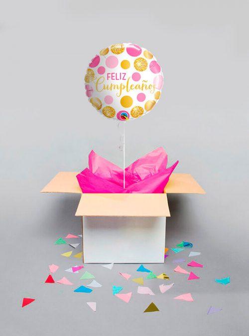 Globo sorpresa Feliz cumpleaños puntos