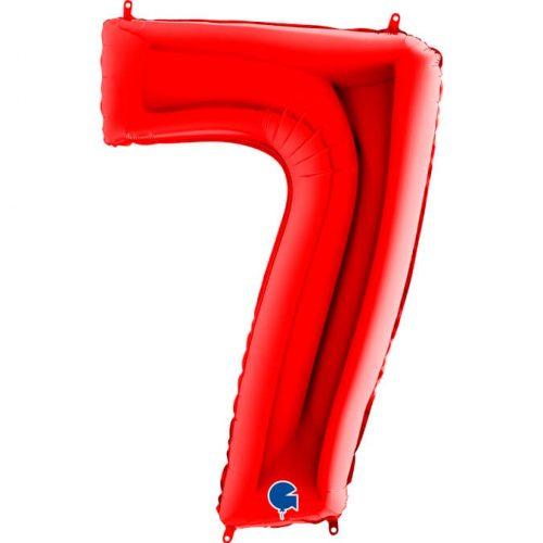 Globo número 7 metálico 101cm rojo