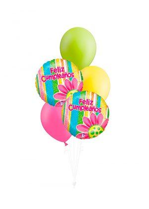 Bouquet de globos Feliz Cumpleaños flor