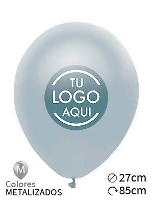 Globos personalizados metalizados látex 27cm