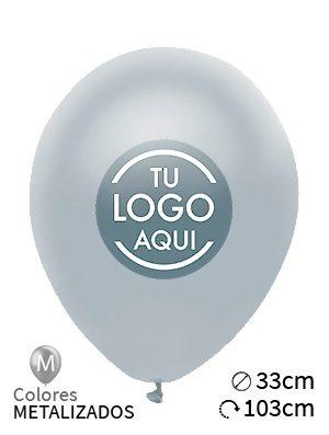 Globos personalizados metalizados látex 33cm