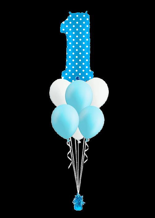 Bouquet Primer año niño topos + 6 globos látex