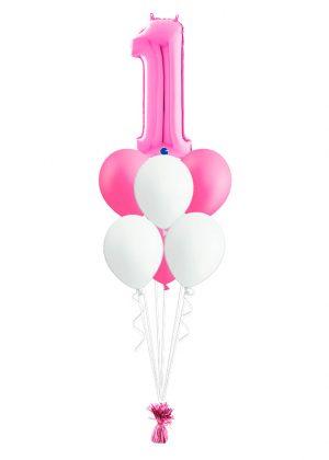 Bouquet cumpleaños Fucsia 1 número + 6 globos látex