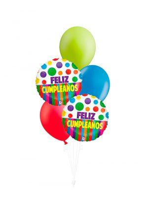 Bouquet de globos Feliz Cumpleaños dots colores