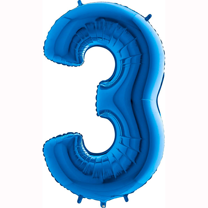 globo numero 3 azul