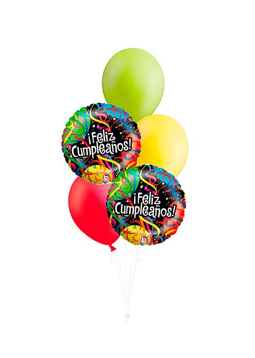Bouquet de globos Feliz Cumpleaños serpentina