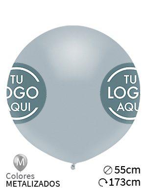 Globos personalizados metalizados de látex, medidas 90cm de diámetro. Impresos por serigrafía a 1 tinta por 2, 3 o 4 caras. ¡Desde sólo 10 globos!