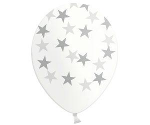 Globos de látex transparentes Estrellas plata
