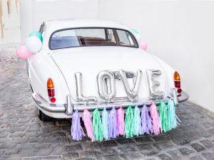 Letras Love y Tassel Pastel para Coche de Boda