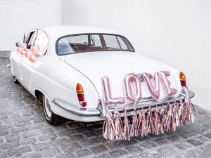 Letras Love y Tassel Rose Gold para Coche de Boda