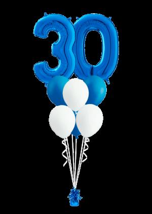 Bouquet cumpleaños Azul 2 números + 6 globos látex