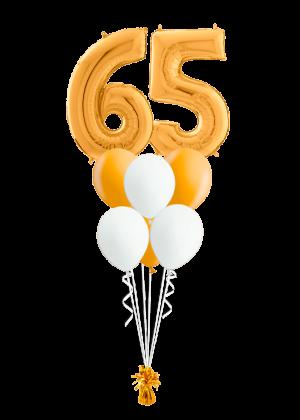 Bouquet cumpleaños Oro 2 números + 6 globos látex