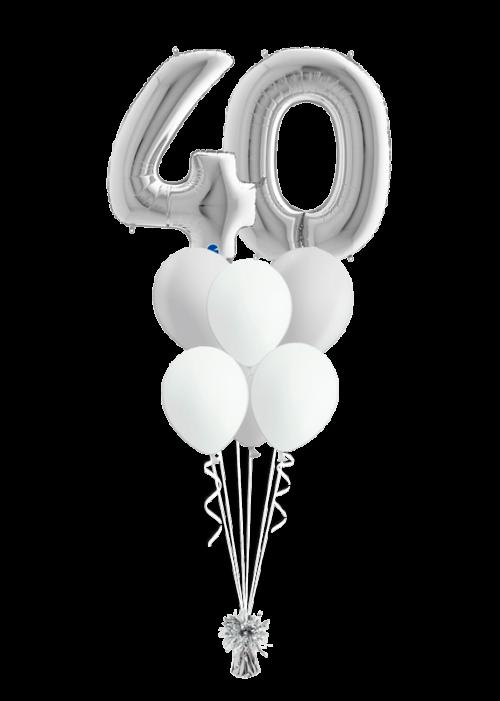 Bouquet cumpleaños Plata 2 números + 6 globos látex