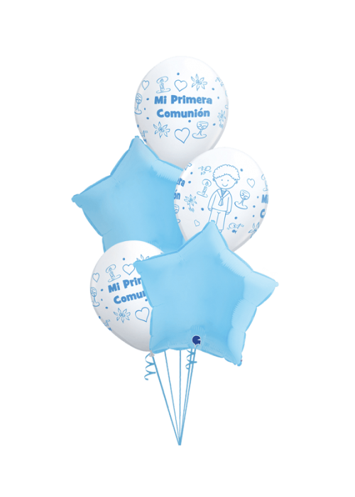 Bouquet de globos Comunión Niño estrellas