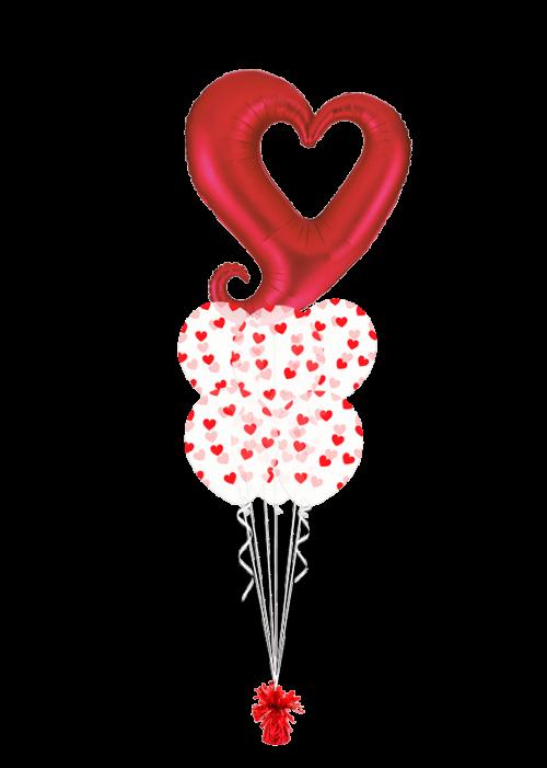Bouquet de globos Corazón rojo