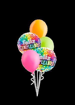 Bouquet de globos Cumpleaños confeti