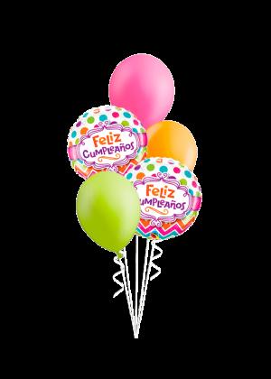 Bouquet de globos Feliz Cumpleaños chevron